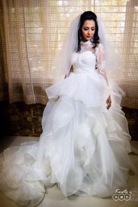 bridal portrait with wedding gown